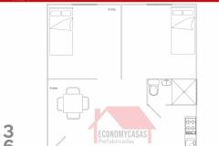 Planos Casa Prefabricada 36 metros cuadrados