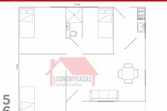 Planos Casa Prefabricada 56 metros cuadrados