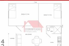 Planos Casa Prefabricada 42 metros cuadrados